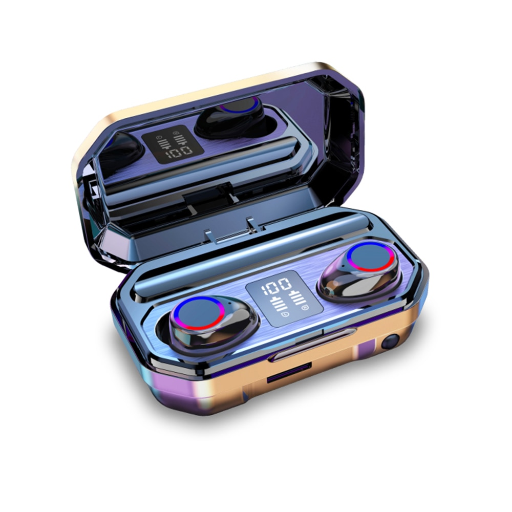 KUGE Wireless Bluetooth Earphone HD Stereo Headphone Sports Headset With Dual Mic and LED Display 2000Ah Battery Charge Case