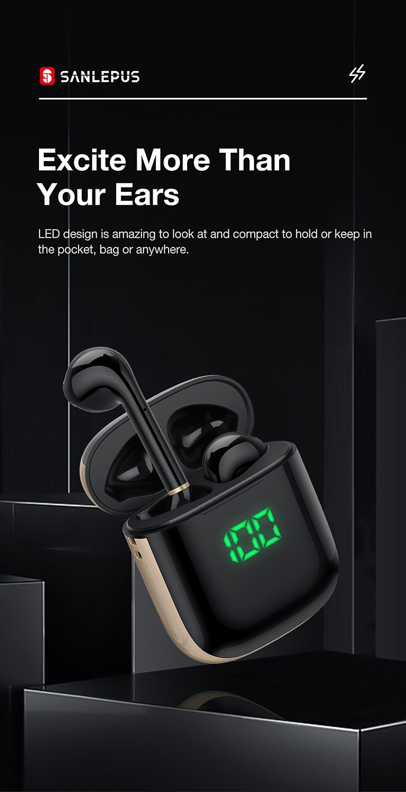 SANLEPUS Led Display TWS Earphones Wireless Headphones 3D Stereo Earbuds Gaming Sport Headset For Android iPhone Xiaomi Huawei